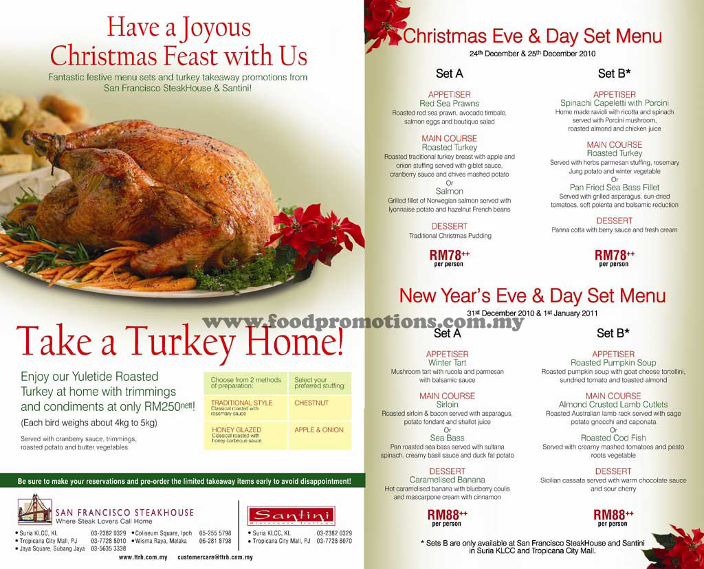 Food Street: San Francisco Steakhouse and Santini Christmas & New ...