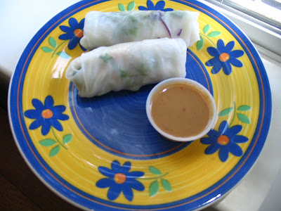low calorie peanut sauce and spring rolls