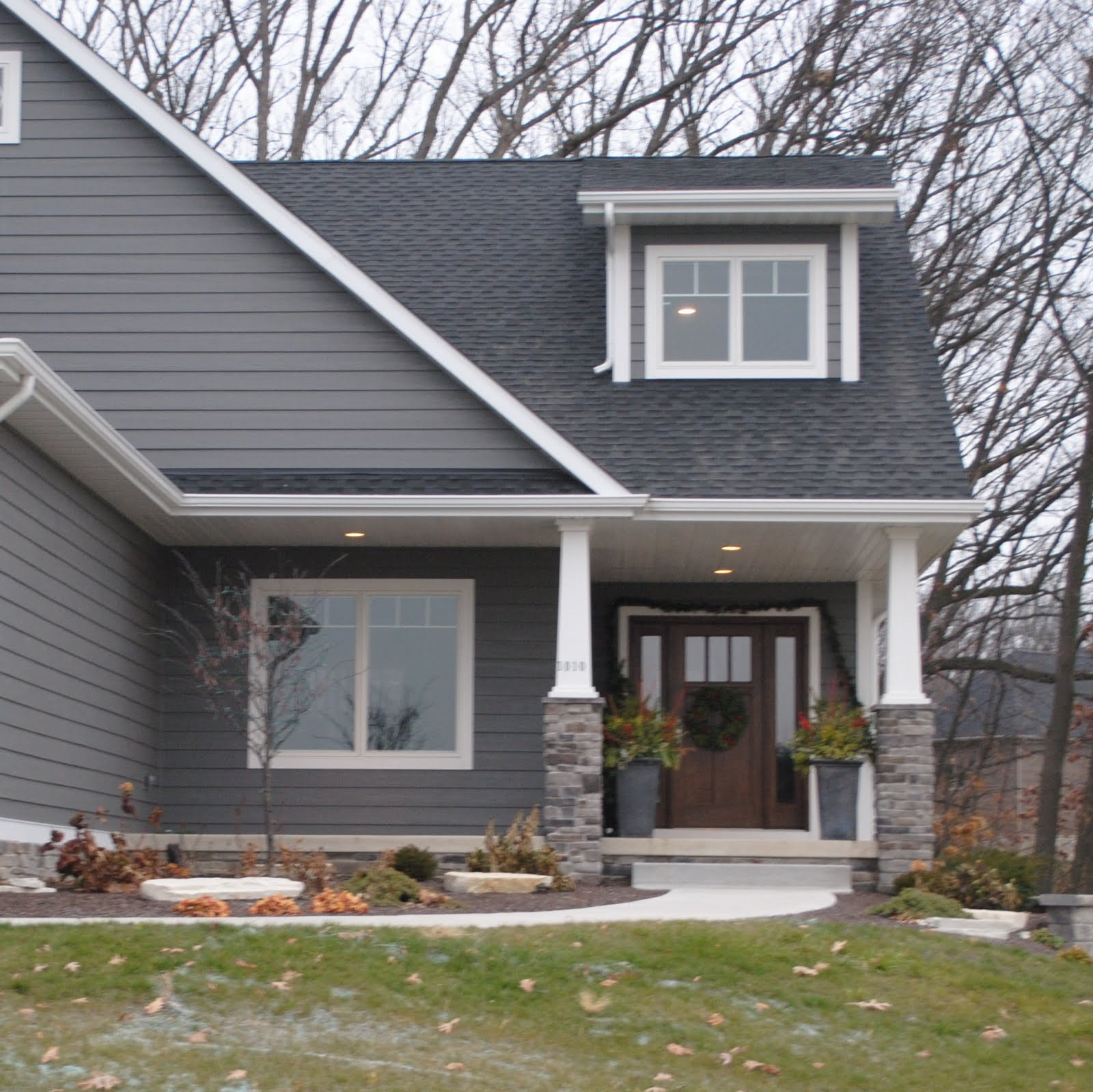 Dark gray siding for Blue siding house
