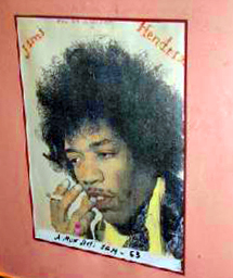 Jimi Hendrix poster in a restaurant