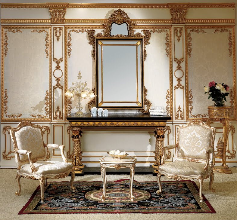 Classic Furniture Entrance Console And Mirror In Baroque Style