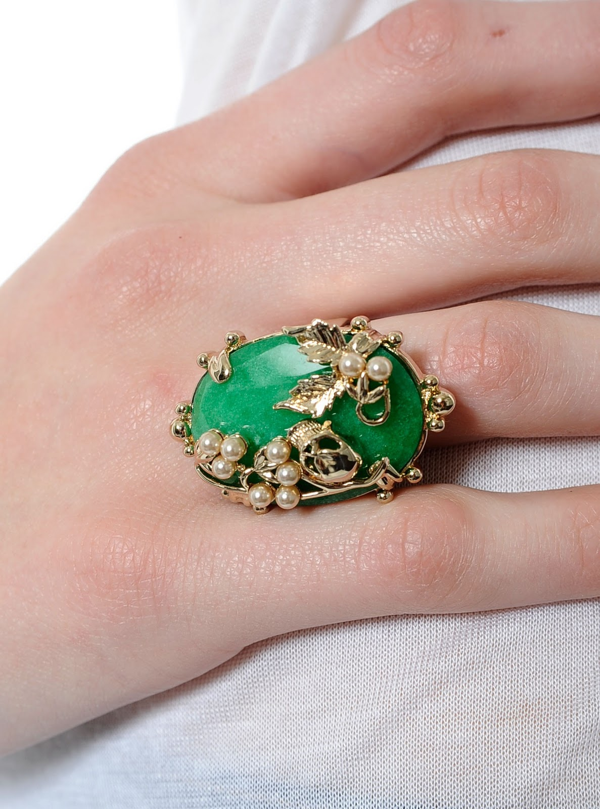 Mawi - Gold Plated Jade and Skull Ring | FairyBlingMother