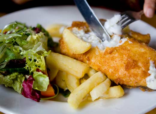 fish and chips takeaway. Love dish: fish and chips