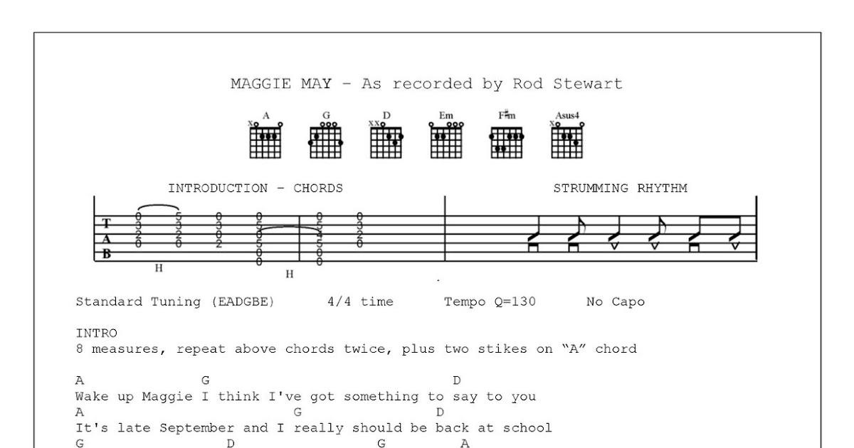 Mandolin Tabs Maggie May Rod Stewart Music Sheets Chords