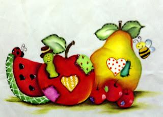 frutas pintadas em tecido
