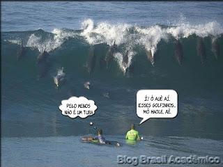 Charge/montagem: golfinhos pegando onda