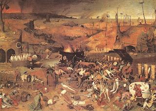 Quadro Triunfo da morte (1562), do pintor belga Peter Bruegel<br />(1525-1569), retrata o horror que a peste negra causou na Europa