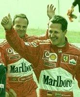 Michael Schumacher e Rubens Barrichelo promovendo cigarro