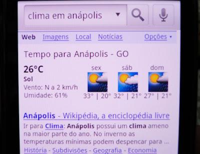 Busca por voz: Clima em Anápolis