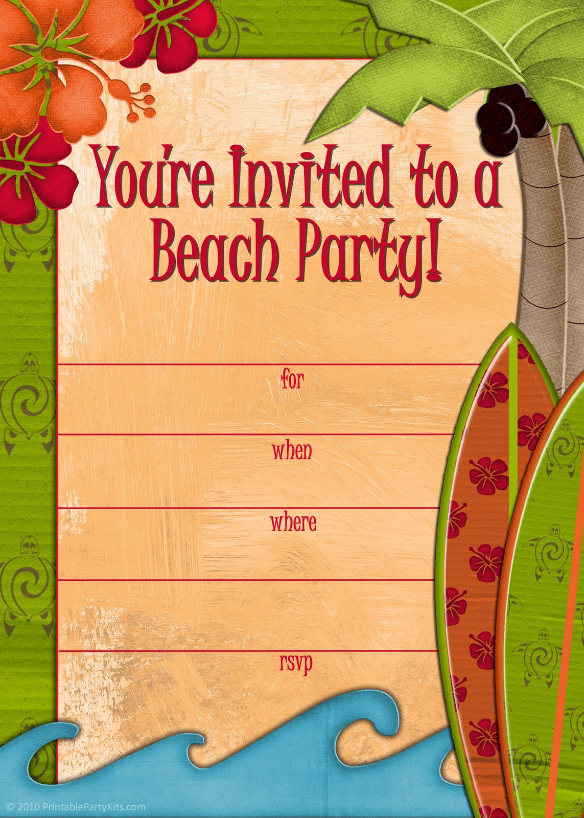 It's just a photo of Légend Beach Party Invitations Free Printable