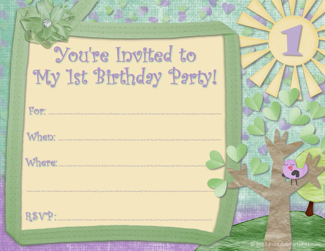 Free printable party invitations free invite design for a 1st free invite design for a 1st birthday party stopboris Images