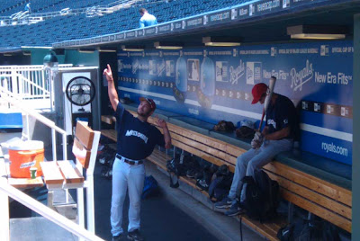 In the dugout before the game