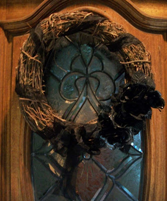 Halloween wreath on door