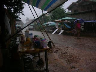 rain in Vang Vieng Laos
