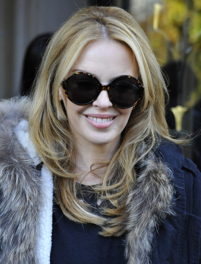 Kylie Minogue  wearing Yves Saint Laurent sunglasses. Photo: Abacapress Olycom