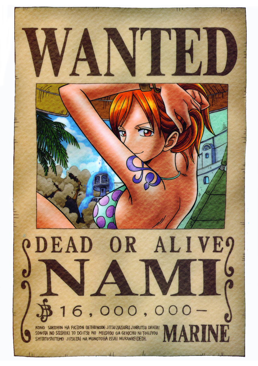 One Piece Nami  Nami Wanted Poster