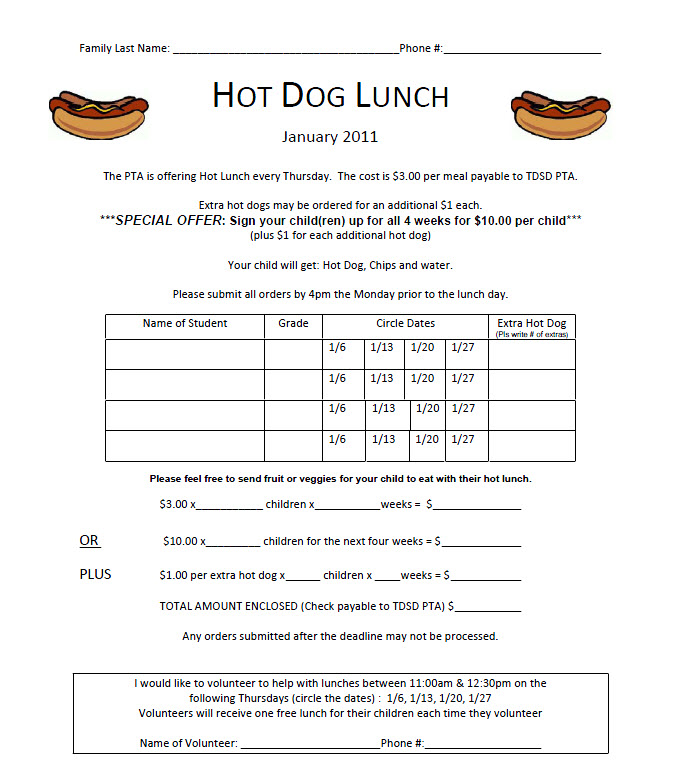 TDSD PTA: Hot lunch order forms for January are ready