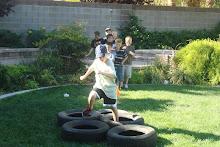 Jake running through the tires