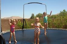 Trampoline and sprinklers