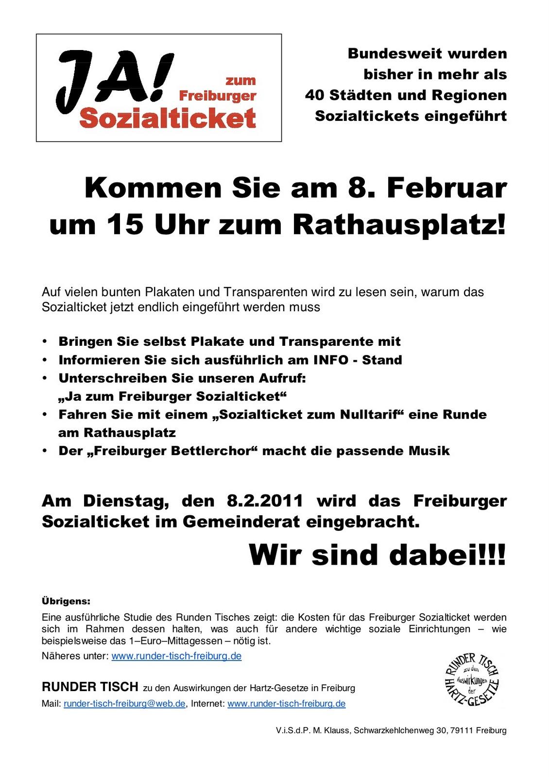 runder tisch freiburg: sozialticket | hartz4 jobcenter, Einladung