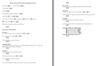 Meredith\'s Teaching Portfolio: Educational Website Evaluation Template