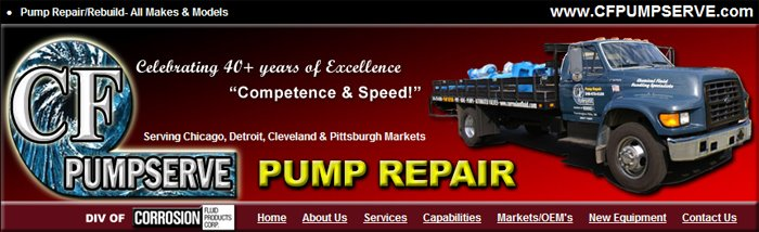 Pump Repairs / Rebuilds by CF PUMPSERVE, a Division of Corrosion Fluid Products Corp.
