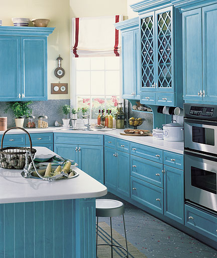 Fifi flowers blue kitchens for cooking for Blue kitchen cabinets pictures