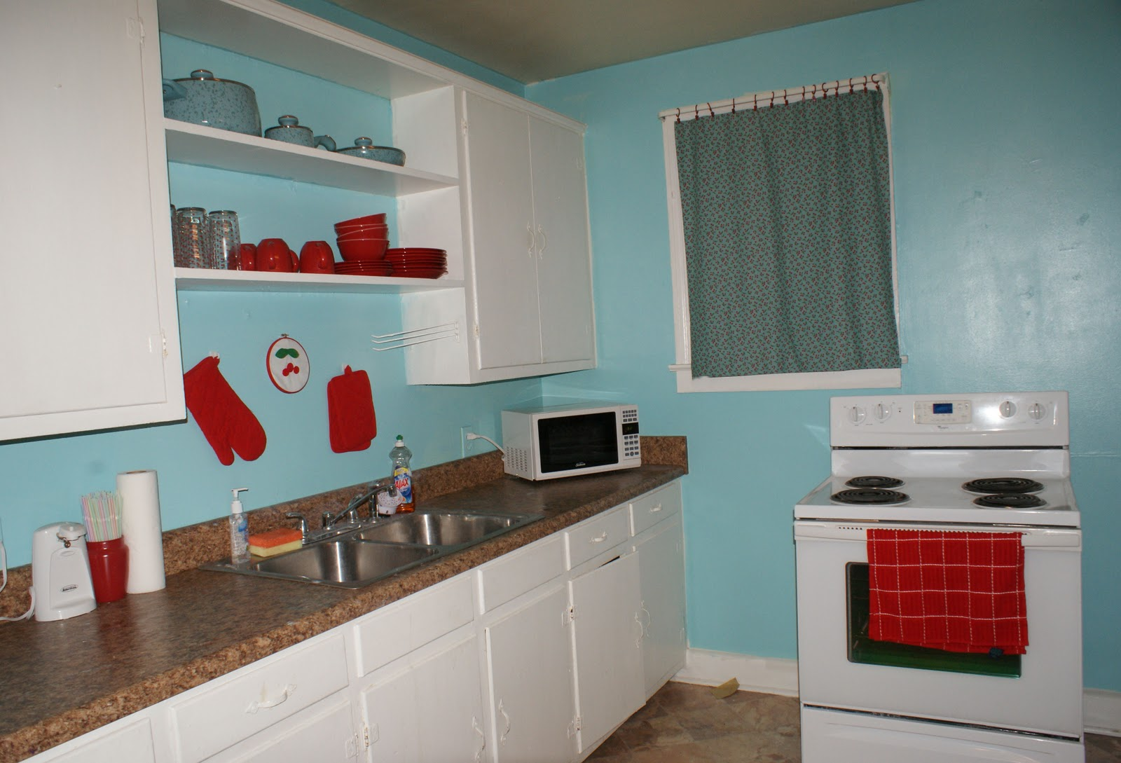 Coley\'s Corner: The Kitchen: Light Teal with Cherries on the Side
