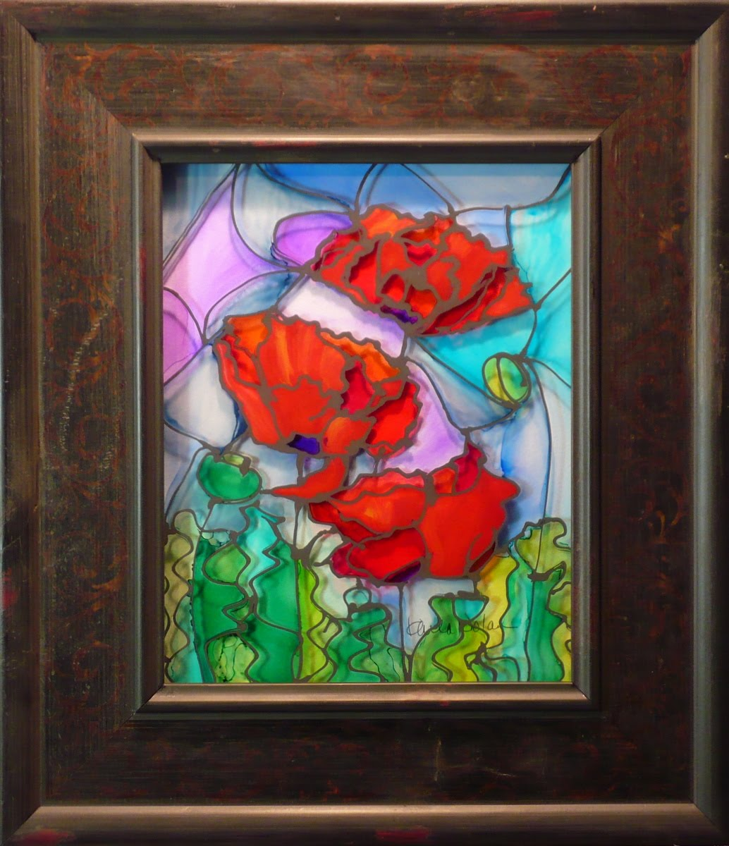 Karla nolan fine art winning threesome by karla nolan framed glass painting for Pictures painted on glass