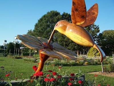 Glorys Garden Hummingbird sculpture at Longwood