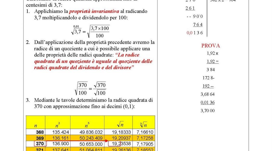 Condividiamo la matematica e le scienze come si calcola la radice quadrata di un numero - Tavole numeriche radici quadrate da 1 a 10000 ...