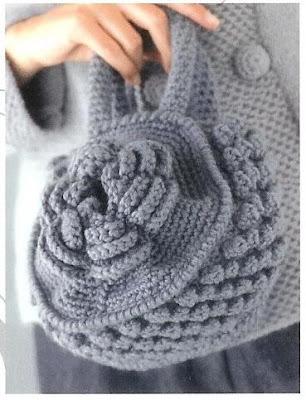 схема вязания сумки цветка