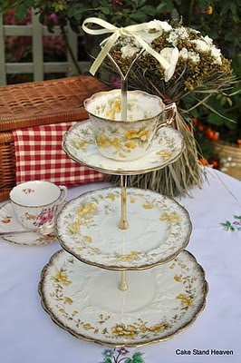 antique yellow and gold cake stand