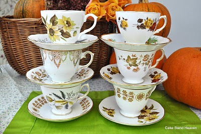 mixed autumnal colours bone china tea set