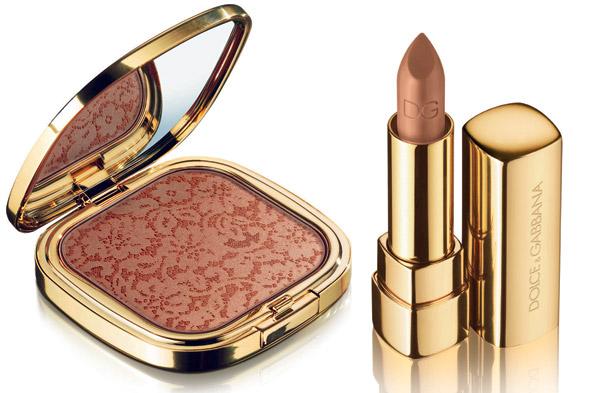 Dolce & Gabbana Bronzer de Renda da Sicília e Lipstick . Fotos de