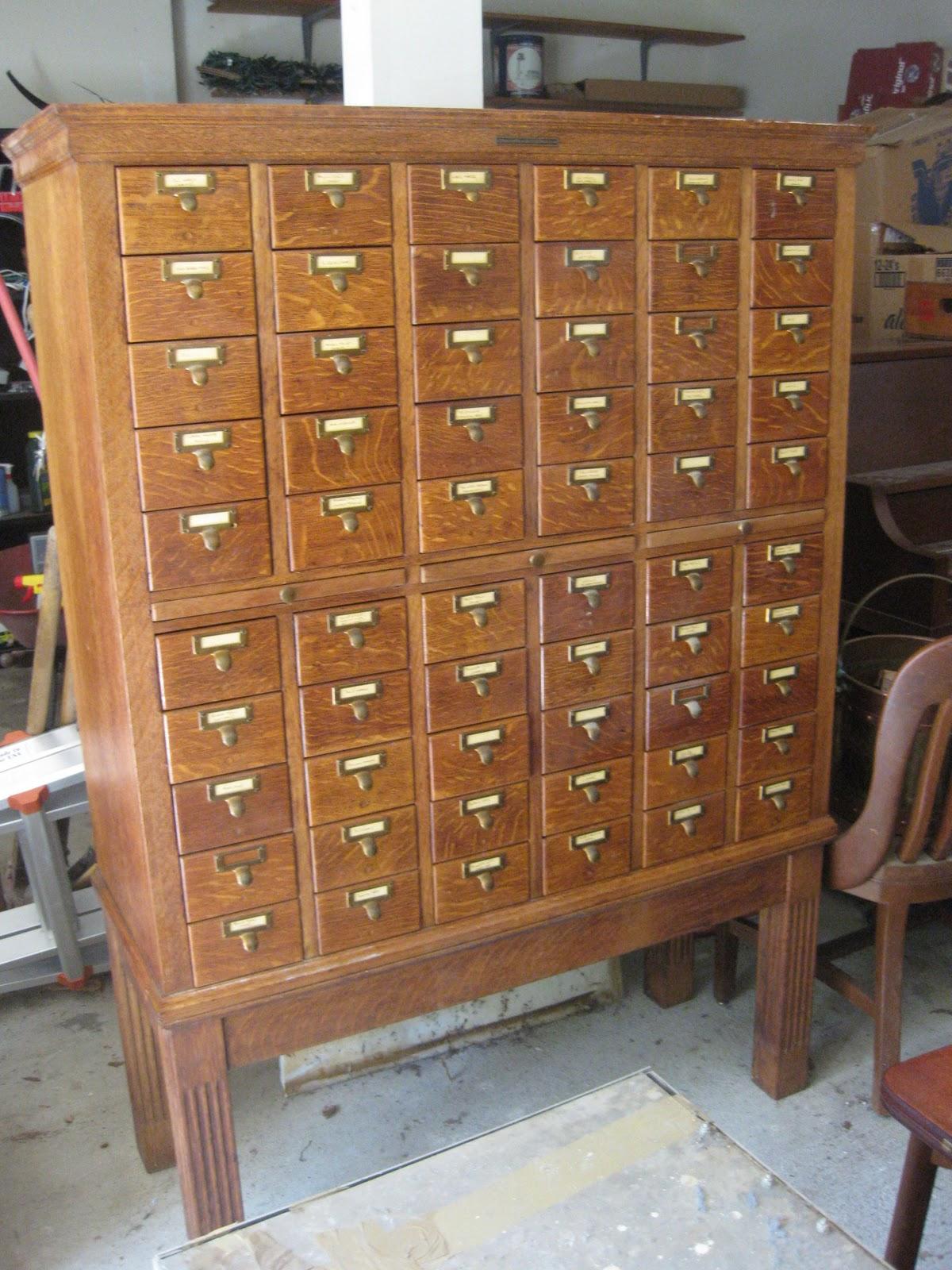 antique assets sold library bureau sole makers 60 drawer library card catalog 1000. Black Bedroom Furniture Sets. Home Design Ideas