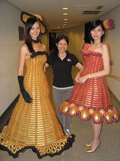 designer with her 2 balloon cloth models