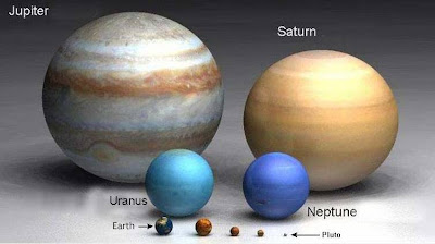 how big is our earth compares to jupiter, saturn, uranus, neptune, venus, mars, mercury and pluto