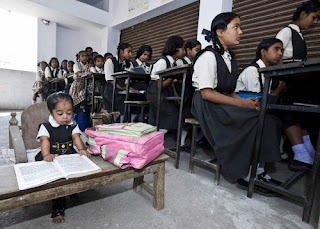 She study in regular school in Nagpur, central India, where she has her own small desk and chair