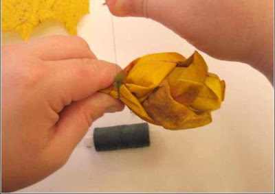 use string to tight it. one stick attach to make it like a real flower