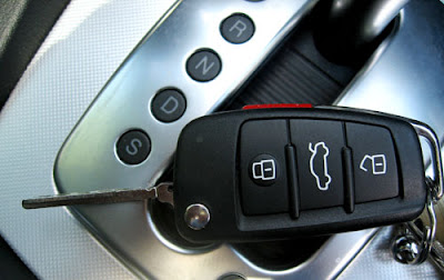 modern car keys with gear lock