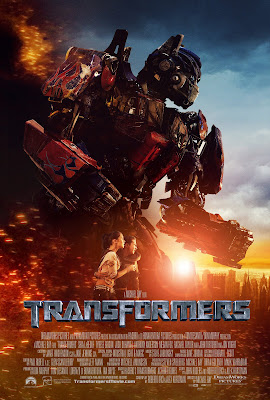 the latest transformers poster - very cool, showing optimus in the battle field with smashed and cracked and in fire