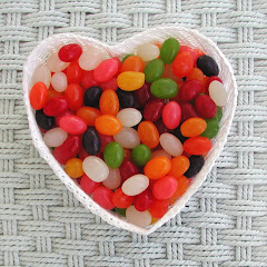 White Lace Heart with Jelly Beans