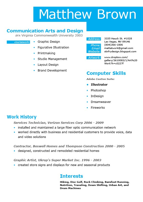 resume indesign