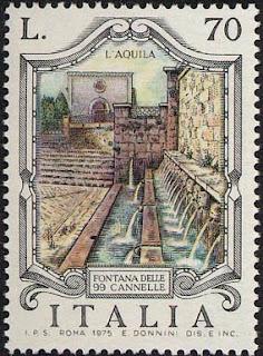 Francobollo celebrativo della fontana delle 99 cannelle a l'Aquila