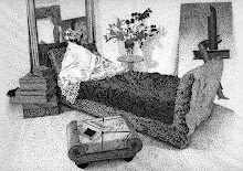 Rendering- Bedroom Interior, Ink Stipple