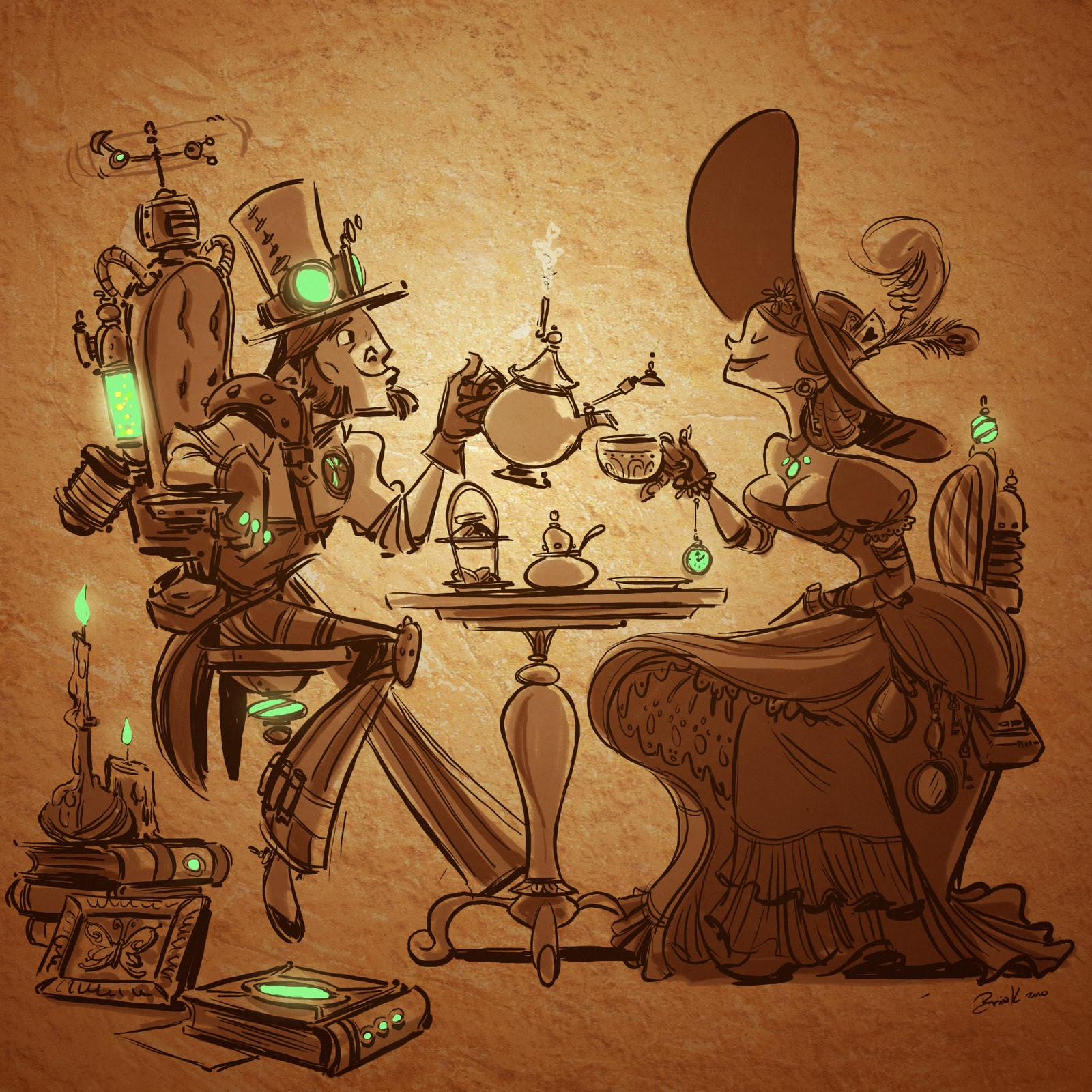 will draw for fun: steampunk tea party
