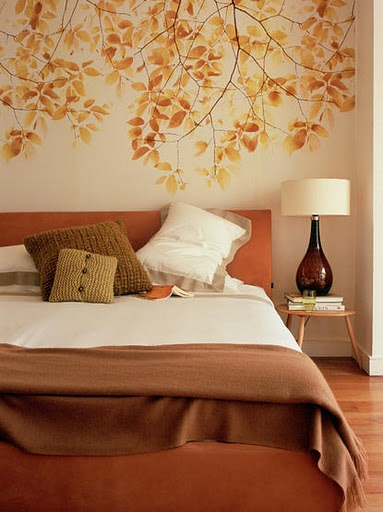 the wall design is the same leafy look inspired by nature how beautiful it looks with the bright light excellent choice of wall design for small space