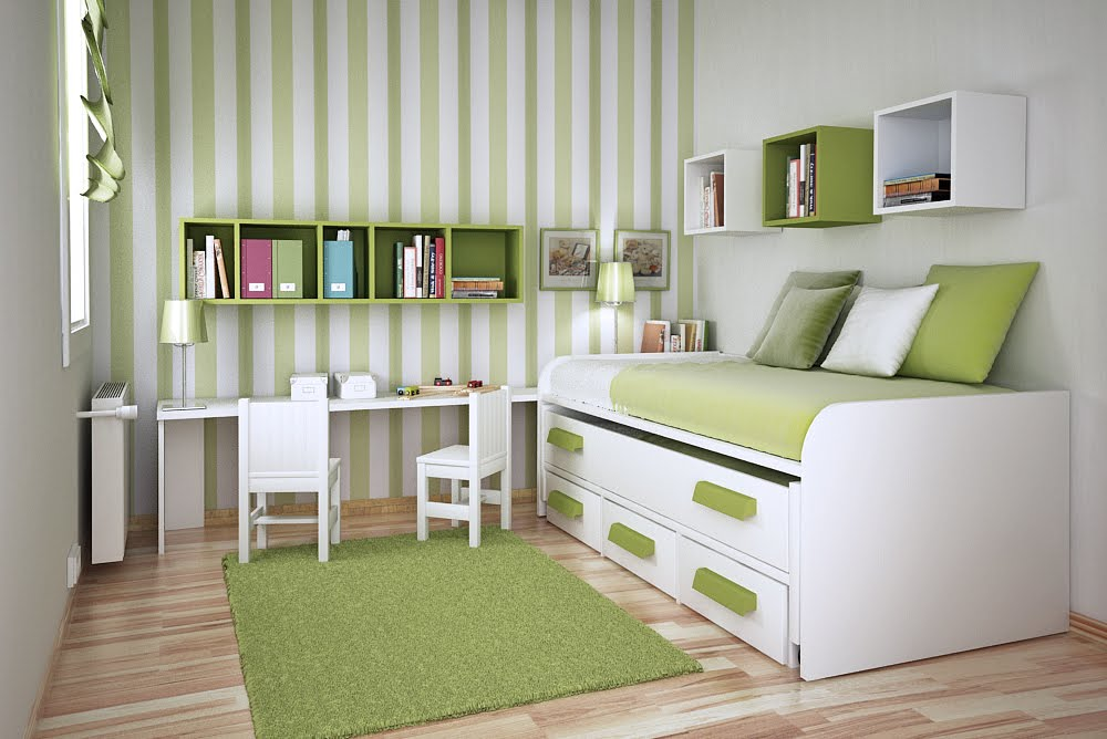 Bedroom For Teen Kids Striped Design Idea Storage Space Saver Modern