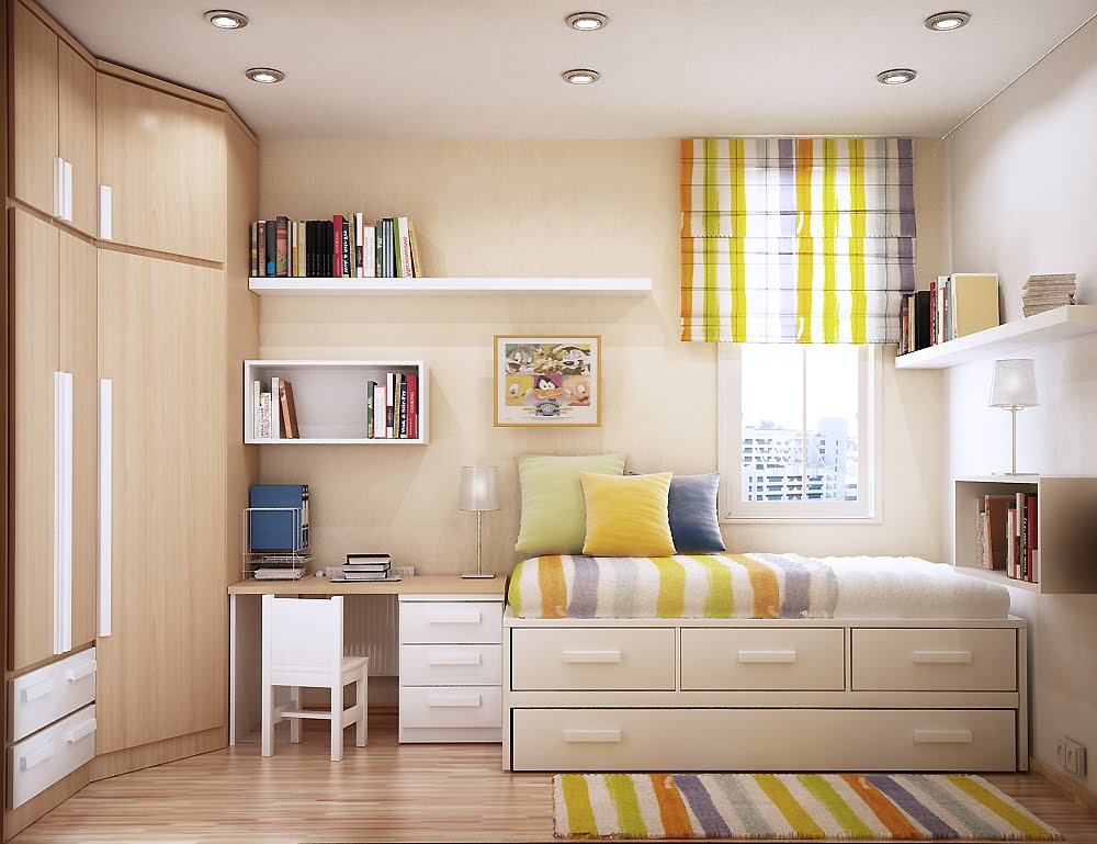 teen bedroom idea design modern bright and cheerful room space saving furniture with personality in yellow ديكورات و الوان غرف بنات حديثة